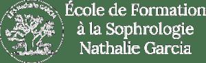 Logo blanc de l'École de Formation à la Sophrologie Nathalie Garcia